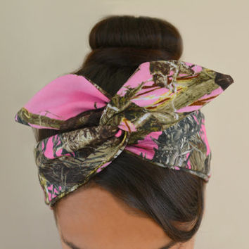 Pink True Tree Camo Dolly Bow, Camoflauge headband