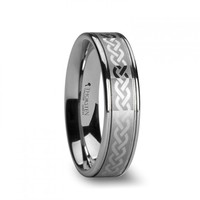 HALSTON Celtic Knot Laser Engraved Tungsten Wedding Ring