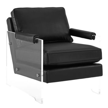 Serena Black Eco Leather/Lucite Chair