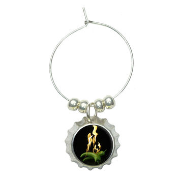 Super Hot Flaming Chili Peppers Wine Glass Bottlecap Charm