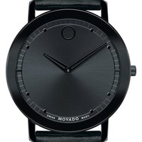 Men's Movado 'Sapphire' Leather Strap Watch, 40mm - Black