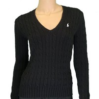 Polo Ralph Lauren Women`s Cable Knit V-neck Black Sweater