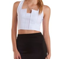 Sleeveless Notched Crop Top by Charlotte Russe