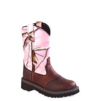 Old West Youth Pink Camo Tubbies Boots - TB2215Y