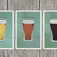 Beer Poster Set, Bar Art Print, Quilled Pale Ale / IPA / Stout in a Glass, Man Cave Decor, quilling art print, Paper art print, 12x18in