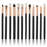 12 Pcs Wool Practical Professional Makeup Brush kit Sets for eyeshadow blusher Cosmetic Brushes Tool Complete Eye Kit