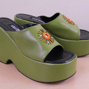 90s - Olive Green - Ethnic Indian Style - Beaded Mirror - Mirrored - Platform - Wedge - Chunky - Shoes - Sandals - Sea Punk - 7.5 - 8