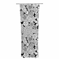 "Julia Grifol ""Welcome White Birds"" Black Floral Decorative Sheer Curtain"
