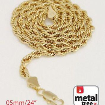 "Jewelry Kay style Men's Women's 14K Yellow Gold Plated 5mm Rope 24"" Chain Necklace ""MADE IN KOREA"""