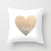 GATSBY GOLD HEART Throw Pillow by Monika Strigel