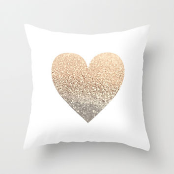 *** GATSBY GOLD HEART  *** Throw Pillow by Monika Strigel