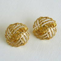 Monet Gold Tone Earrings, Monet Clip On Round Earrings