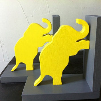 Pair of Yellow & Grey Gray Elephant Bookends - custom colors available