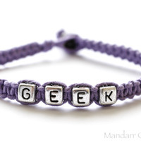 Clearance SALE, Hand Knotted Lavender Purple Geek Bracelet, Handmade Eco Friendly Hemp Jewelry, Half Price Destash Sale