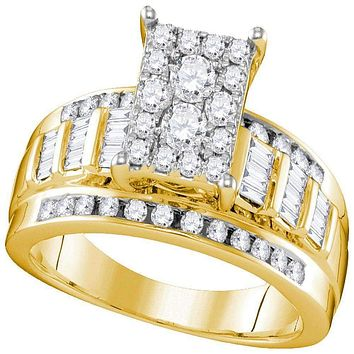 10kt Yellow Gold Women's Round Diamond Rectangle Cluster Bridal Wedding Engagement Ring 7-8 Cttw - FREE Shipping (USA/CAN) - Size 8.5