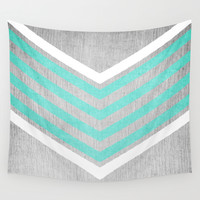 Teal and White Chevron on Silver Grey Wood Wall Tapestry by Tangerine-Tane