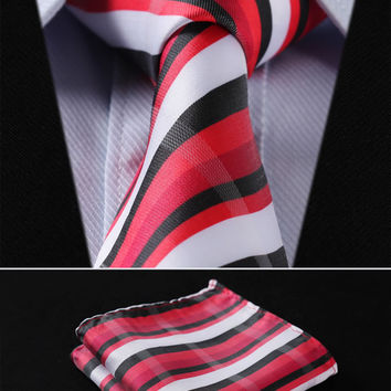 "TS258R8 Red White Black Stripe 3.4"" 100%Silk Wedding Jacquard Woven Men Tie Necktie Pocket Square Handkerchief Set Suit"