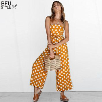 Elegant Polka Dot Sexy Spaghetti Strap Rompers Womens Jumpsuit Sleeveless Backless Bow Wide Legs Jumpsuits Leotard Overalls