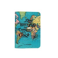 Live Your Life By A Compass Not A Clock World Map [Name Customized] Leather Passport Holder - Leather Passport Cover - Travel Accessory- Travel Wallet for Women and Men_SCORPIOshop