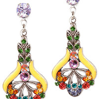 Anne Koplik Designs Silver Art Nouveau Multicolor and Yellow Drop Earrings with Swarovski Crystals