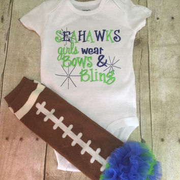 Seahawks inspired girls like bling bodysuit  set with ruffled football leg warmers