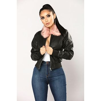 Tide brand fashion women Leah Bomber jacket - Black / Pink F