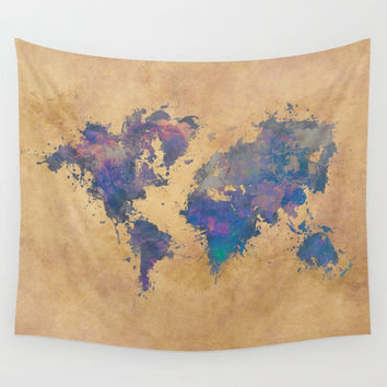 world map 92  #worldmap #map #world Wall Tapestry by jbjart