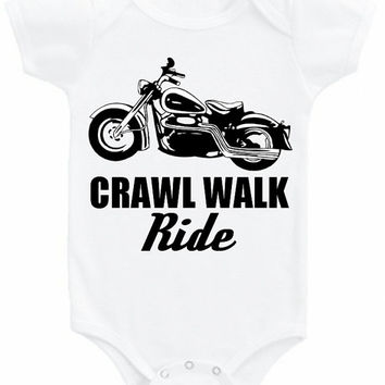 Crawl Walk Ride graphic tee Onesuit vintage Harley Davidson motorcycle bike art baby girl boy bodysuit shirt biker babe moto