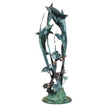 SPI Dolphin Seaworld Seascape Marble and Brass Sculpture