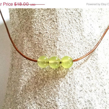 On Sale Peridot Necklace, Minimalist Green Choker, Rustic Green Peridot Necklace, Free Shipping, Delicate Green Gemstone Necklace