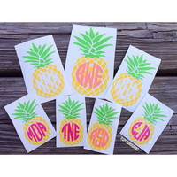 Three Tone Monogrammed Pineapple Decal