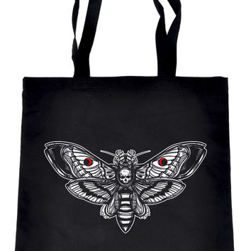 Moth with Death Skull Tote Book Bag Dark Alternative Clothing Handbag Deathrock