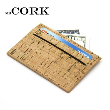 Natural Cork slim Wallet for Men cork vegan card holder handmade casual wooden Eco wallet from Portugal BAG-254