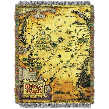 "Hobbit Middle Earth Map Licensed 48""x 60"" Woven Tapestry Throw  by The Northwest Company"