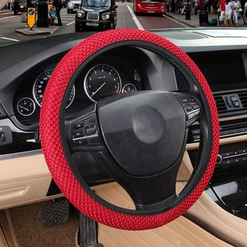 DIY Car Steering Wheel Cover Fit For Most Cars Breathability Sandwich Fabric Durable Skidproof Auto Covers Car Styling
