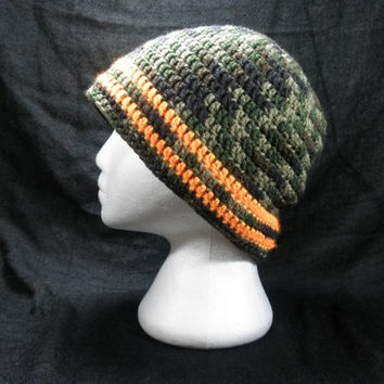 Crochet Beanie Hat with Woodland Camo and Safety Orange Stripes