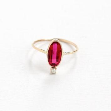 Antique Art Deco 10K Yellow Gold Created Ruby & Pearl Ring- Vintage Size 5 Oval Facete