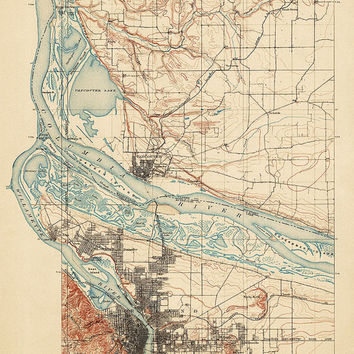 Antique Map of Portland, Oregon and Vancouver, Washington (1897) - USGS Topographic Map - 16x20 - Archival Reproduction