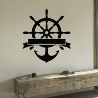 Wall Decal Vinyl Sticker Wheel Anchor Sea Ocean Travel Decor Sb419