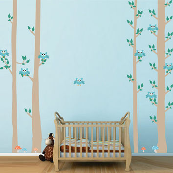 kcik1681 Full Color Wall decal bedroom children's Custom Baby Nursery tree nusery decal tree forest owl birds baby boy