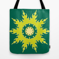 Artistic green mandala Tote Bag by cycreation