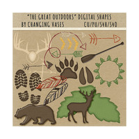 Digital Scrapbooking Shapes, The Great Outdoors, Camping Clipart, Nature Clip Art Graphics, Hunting Elements, Deer Owl Raccoon Fox, Trees