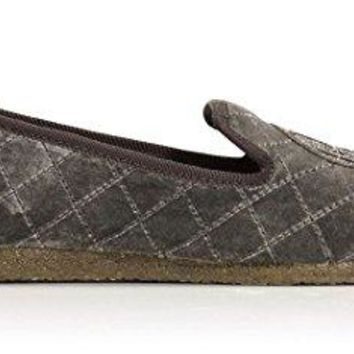 Tory Burch Quilted Billy Slipper, Pewter, Size US 10