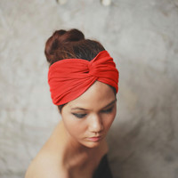 Black Friday to Cyber Monday SALE/Coral Red, Turban Twist headband, Plain color collection