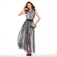 women summer maxi dress chiffon lace dress striped printing party spring sexy elegant sashes sleeveless maxi dresses -03131