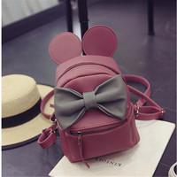 Fangxi Korean style Mickey ears female backpack bag mini zaino quality pu leather sweet bow College teenager bag women backpack