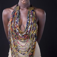 African Print Body Necklace