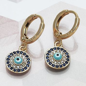 Gold Layered Women Greek Eye Dangle Earring, with Sapphire Blue Micro Pave, by Folks Jewelry