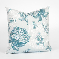 Decorative Pillow Case. Floral Nursery Decor. Floral Pillowcase. Light Blue Pillow Cover. Nursery Throw Pillow. Sky Blue Throw Pillow