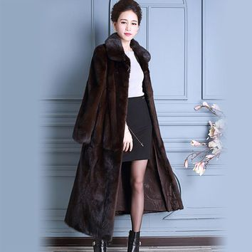 New 2017 Real Mink Fur Coat China Long Sleeves Extra Long Luxury Ladies Natural Mink Coats Women Overcoat Plus Size 5Xl 6XL 7XL